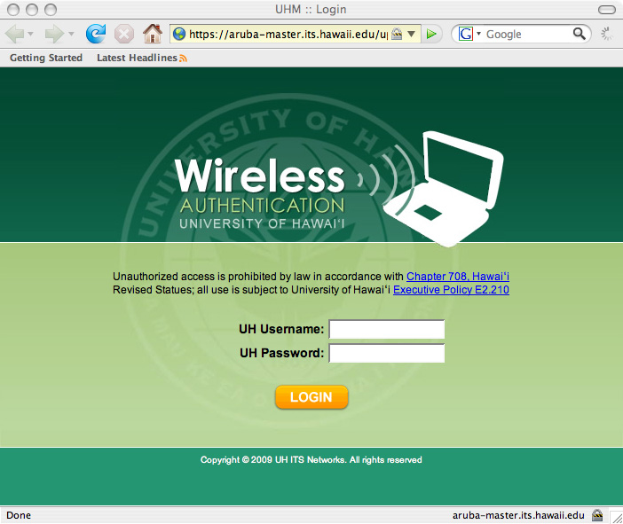 UHM Wireless logon page