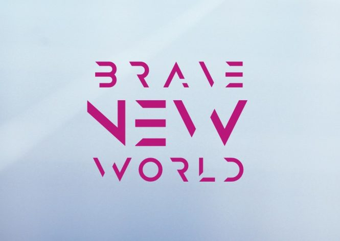 """Invite image for exhibition, reads """"BRAVE NEW WORLD"""""""