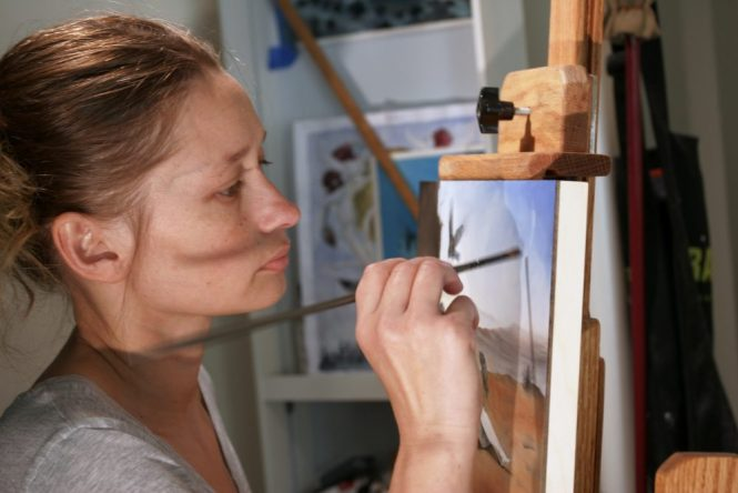 Jessica Beck at work in her studio