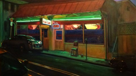 Painting of storefront at night, by Ka-Ning Fong