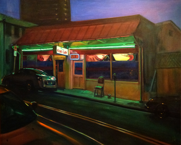 Painting of storefront at night, by Ka-Ning Fong