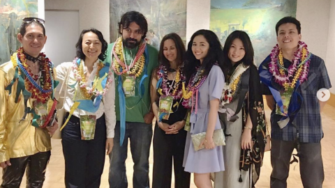Photo of artists (left to right) Daniel Stratis, Chiho Ushio, Bronson Shimabukuro, Erin Marquez, Alina Kawai, Kana Ogawa, and Andrew Yamauchi