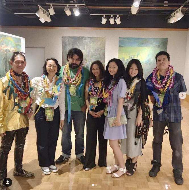 Photo of artists (left to right) Daniel Stratis, Chiho Ushio, Bronson Shimabukuro, Erin Marquez, Alina Kawai, Kana Ogawa, and Andrew Yamauchi