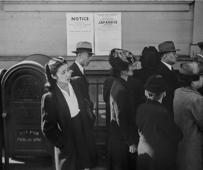 Image by Dorothea Lange, Waiting for Registration, 1942