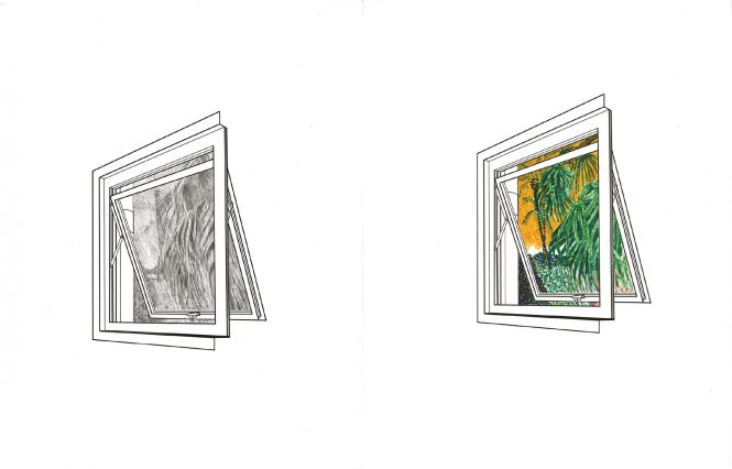 Two images of an open window; one shaded with pencil and one colored