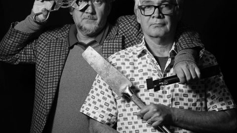 Black and white portrait of Einar and Jamex de la Torre