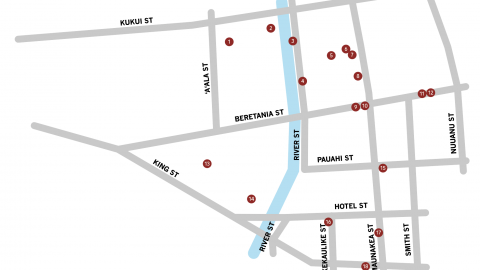 Aala Area Street Map with markers